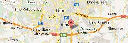 Restaurant Brno, bowling and accommodation map